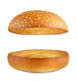 汉堡包汉堡空的小圆面包被隔绝在白色 库存图片