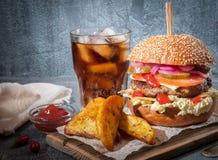 汉堡包用水多的炸肉排和菜 辣调味汁和红萝卜在乡村模式 免版税库存图片