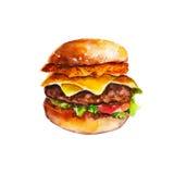 汉堡包用马铃薯煎饼和菜,水彩例证 皇族释放例证