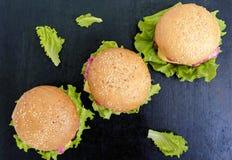 汉堡包用水多的炸肉排、绿色莴苣叶子和一个软的小圆面包用芝麻在黑背景 免版税库存照片