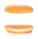 汉堡包,在白色的乳酪汉堡小圆面包 库存照片