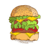 汉堡包 手拉的草图 免版税库存照片