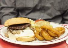 汉堡和洋葱圈 免版税库存图片