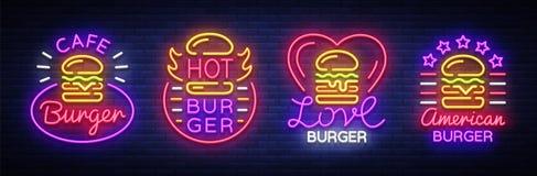 汉堡咖啡馆套霓虹灯广告 快餐汉堡三明治在霓虹样式,横幅,设计模板,夜的汇集商标 免版税库存照片