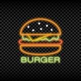 汉堡咖啡馆的霓虹灯标志 发光和快餐商标光亮的明亮的牌  向量 图库摄影