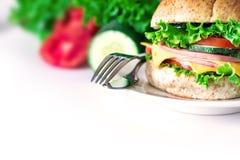汉堡将面包夹在中间用烟肉、火腿和乳酪与vegetab 库存照片