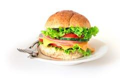汉堡将面包夹在中间用烟肉、火腿和乳酪与vegetab 免版税库存图片
