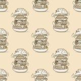 汉堡巨大的无缝的样式 库存例证