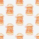 汉堡巨大的无缝的样式 向量例证