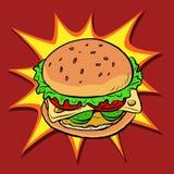 汉堡快餐减速火箭的流行艺术 库存例证