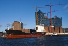 汉堡港口和易北河爱好音乐霍尔 免版税库存图片
