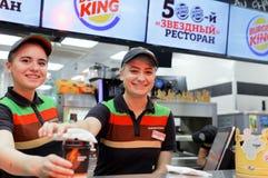 汉堡王餐馆职员  库存照片