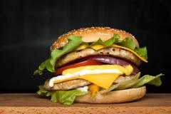 汉堡用两道炸肉排 库存照片