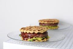 汉堡用牛肉砍,鳄梨调味酱捣碎的鳄梨酱,樱桃调味汁,在格栅的土豆小圆面包 奶油被装载的饼干 库存图片