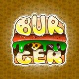 汉堡的商标 快餐的芝麻小圆面包在咖啡馆 皇族释放例证
