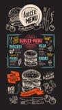 汉堡餐馆的食物菜单 传染媒介酒吧的食物飞行物和 图库摄影