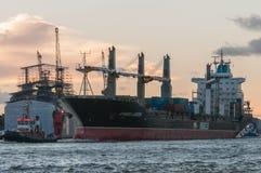 汉堡,德国- 01 2013年12月:琥珀色的盐水湖到达 免版税图库摄影