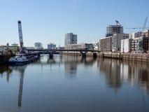 汉堡,德国- 2018年5月04日:从新的Baakenpark的看法在Hafencity,汉堡 库存图片