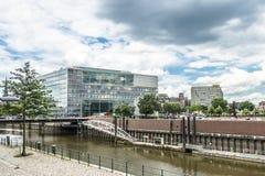 汉堡,德国- 2017年7月14日:德国广播电台ZDF的大厦位于接近 图库摄影