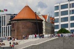 汉堡,德国- 2015年7月18日:鸟瞰图易北河Landungsbruecken和口岸商业同业公会在一多云天在夏天 图库摄影