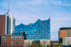 汉堡,德国- 2017年5月28日:Elbphilharmonie,汉堡港的音乐厅  居住的最高 免版税库存图片