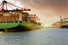 汉堡,集装箱船在港口Waltershof 免版税库存照片