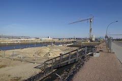 汉堡(德国) - Hafencity的建筑工地 免版税库存照片
