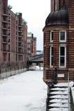 汉堡speicherstadt冬天 库存图片