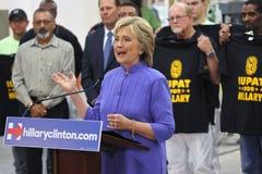 汉德尔逊, NV - 2015年10月14日:民主党U S 总统候选人&前国务卿希拉里・克林顿讲话在Int 库存照片