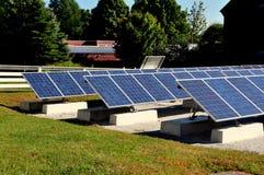汉考克, MA :在振动器村庄的太阳电池板 免版税库存照片