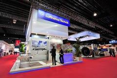 汉莎航空公司陈列它的MRO和客舱转换解答的Technik在新加坡Airshow 免版税库存图片