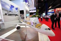 汉莎航空公司陈列它的MRO和客舱转换解答的Technik在新加坡Airshow 免版税图库摄影