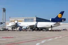汉莎航空公司麦克当诺道格拉斯公司MD-11货轮 图库摄影