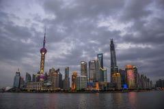 汉语上海障壁夜 免版税图库摄影