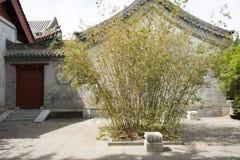 汉语亚洲,北京,北海公园,古老大厦,庭院,警卫室,竹子 免版税库存照片