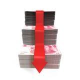 汉语元和红色箭头 免版税库存图片