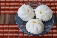 汉语蒸的菜小圆面包 免版税库存照片