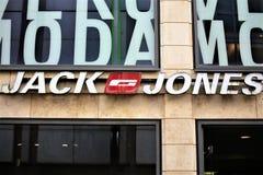 汉诺威/德国- 11/13/2017 -杰克和琼斯商标的图象 库存照片