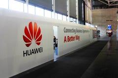 华为公司立场在2013年3月9日的在CEBIT计算机商展compu 库存照片
