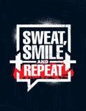 汗水、微笑和重复 富启示性的锻炼和健身健身房刺激行情例证标志 体育传染媒介 向量例证