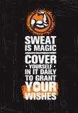 汗水是象魔术 在它的盖子每日对格兰特您的愿望 火车坚硬健身锻炼刺激行情 库存例证