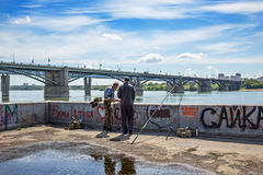 江边和前10月公共事业b的看法 图库摄影