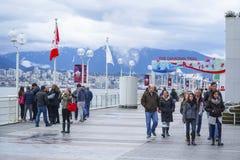 江边步行在加拿大地方温哥华-温哥华-加拿大- 2017年4月12日 库存照片