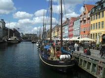 江边视图, Fishermams地区,哥本哈根,丹麦 免版税库存照片