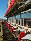 江边餐馆露台在里士满,加拿大 免版税库存图片