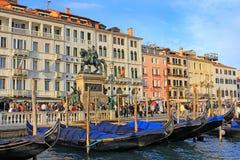 江边Riva degli Schiavoni,威尼斯,意大利 免版税库存照片