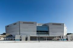 江陵市,韩国- 2017年1月:建筑江陵市曲棍球中心 免版税库存照片
