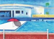 池公共游泳 向量例证