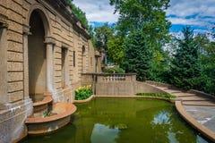水池和庭院子午小山的在华盛顿特区停放, 库存图片