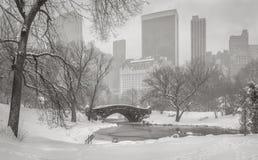 池塘、Gapstow桥梁和曼哈顿摩天大楼durin的看法 库存图片